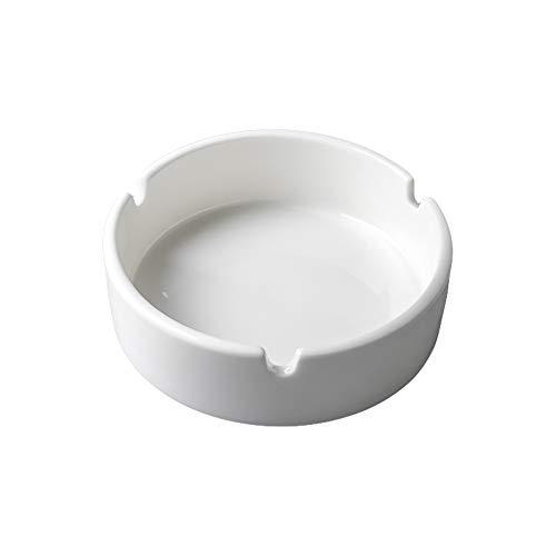 EUROXANTY Cenicero | Cenicero Cerámica | Cenicero Cerámica Redondo | Cenicero para Exterior e Interior | Cenicero Blanco | 10 cm