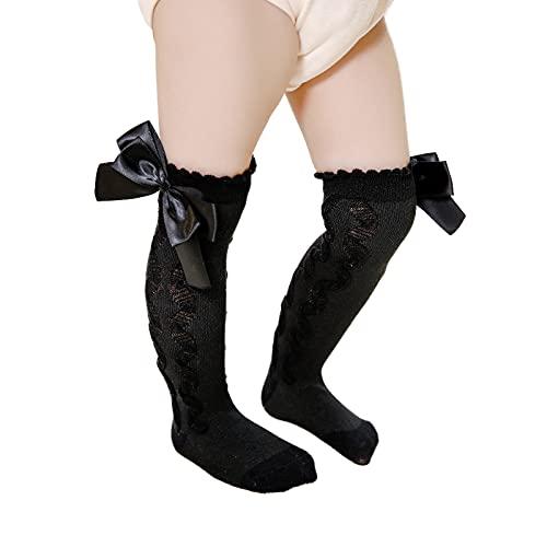 Calcetines de la rodilla de las muchachas del bebé, calcetines suaves del algodón del punto del cable con el lazo para los niños nuevos calcetines largos de, Negro, L