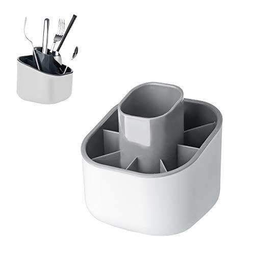 Vigar Rengo - Escurrecubiertos, plástico, color blanco y gris