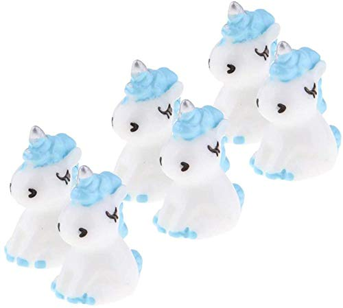 DDGD 6pcs Resin Cute Unicorn Statues Miniature Fairy Garden Ornaments Blue