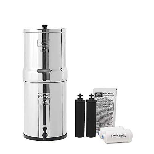 Imperial Berkey Gravity-Fed Water Filter with 2 Black Berkey Elements and 2 Berkey PF-2 Fluoride and Arsenic Reduction Elements