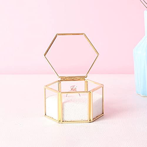Caja joyería cristal hexagonal, caja joyería vintage, caja almacenamiento de joyería geométrica, caja de recuerdo para mesa de centro de mesa de centro de mesa de centro de decoración (dorado)