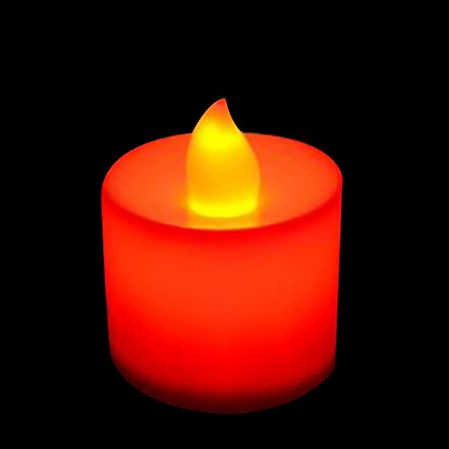 GIFZES Tea Lights,LED Tealight Candles, LED Flameless Candle Battery Operated Party Wedding Flickering Tealight Decor for Seasonal and Festival Celebration Red