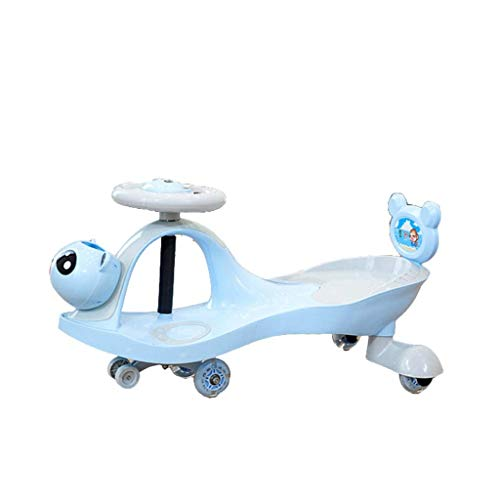 CAIMEI Coche Giratorio para Niños, Juguete para Niños con Luz Led 1-3-7 Swing Wiggle Gyro Swivel Scooter Regalo Divertido Paseo Música Volante Rueda de Flash Silenciosa Portátil (Color: Azul),Azul