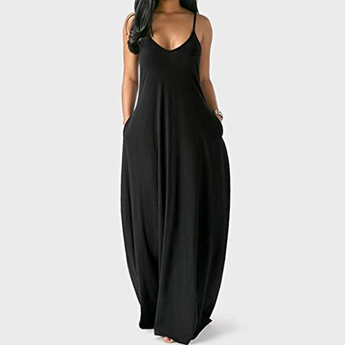 Sexy Sleeveless O-Neck Pockets Camisole Long Dress for Women Casual Elegant, Solid Color Fashion Sexy Design Loose Beach Backless Maxi Dress for Lady, Plus Size, S-5X (Black, L)