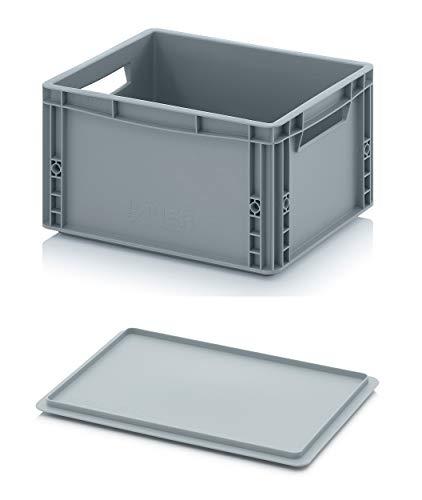 Auer Eurobehälter EG 43/22 + Auflagedeckel Lagerbox 40x30x22cm Box 20L | Transportbox mit Deckel | Aufbewahrungsbehälter | Lebensmittelbox verschließbar | Lager- Kommissionierbox Kunststoff