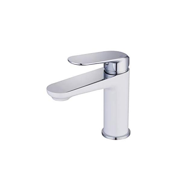 NEWRAIN Grifos de lavabo,Niquel Pulido Grifo de Lavabo Boca Sola palanca Mezclador Grifo Lavabo Grifo Lavabo Bidé Bañera…