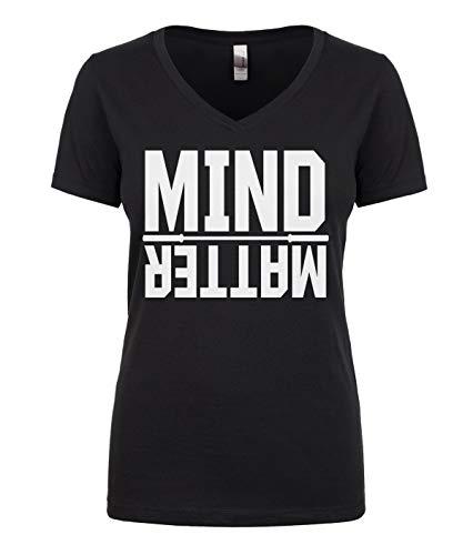 Cybertela Women's Mind Over Matter, Motivational Workout Juniors V-Neck T-Shirt (Black, Medium)