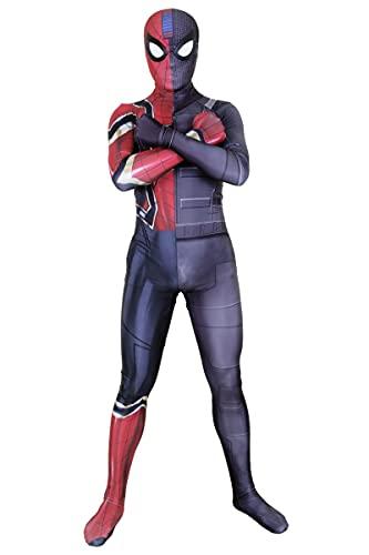 SJJYP Niños Adulto Stealth Iron Spider-Man Fusion Fantasía Onesies, Médico Spiderman Jumpsuit 3D Impreso Lycra All-Inclusive Stretch Body Halloween Ropa para niños,Kids M-Blue