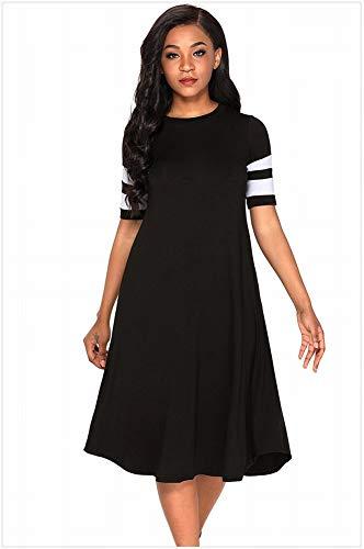 Thumby-Girl doek vrouwen coltrui ronde hals streep korte mouw hoge taille Medium lange Xl jurk, Zwart, m