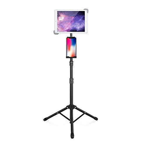 Luxtude Tablet Ständer, Höhenverstellbar iPad Stativ mit 2 Halterung, Universal IPad Ständer & Tablet Stativ für iPhone, iPad, iPad Pro 12.9/11, iPad Air, iPad Mini und Andere 4-14,5 Zoll-Geräte.