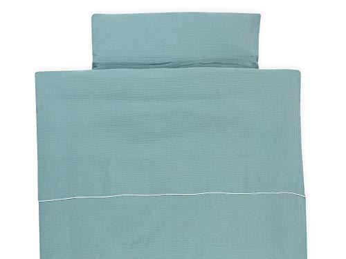 KraftKids Bettwäsche-Set Musselin mint aus Kopfkissen 80 x 80 cm und Bettdecke 140 x 200 cm, Bettbezug aus Baumwolle, handgearbeitete Bettwäsche gefertigt in der EU