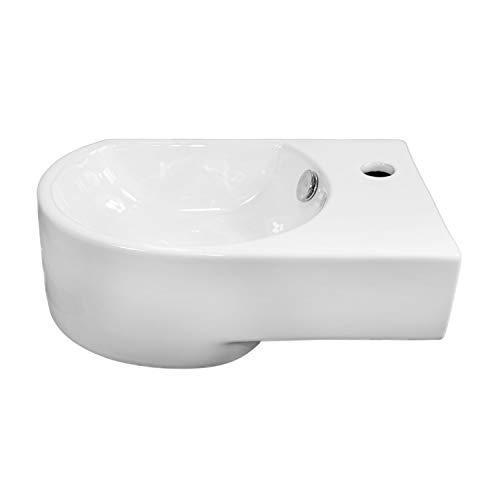NEG Waschbecken Uno06H (klein/abgerundet/Armatur rechts) Hänge-Waschschale (weiß) mit Nano-Beschichtung