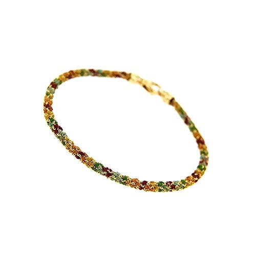 Etru Jewels Handgemaakte Vrouw Armband Tondo Vergulde Zilver gaas Multi kleuren draad