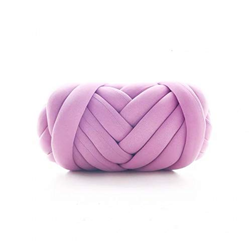 Chunky Thick Yarn for Arm Knitting Crocheting, Cozy Cotton Tube Yarn, Bulky Home Décor Project Yarn for Chunky Throw Blankets (Purple, 17.6 oz / 67ft)