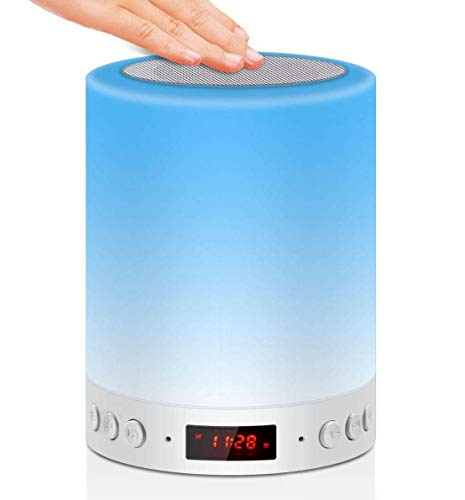 Bedside Lamp with Bluetooth Music Speaker Touch Control Night Light, RGB Color Changing Mood Light with Alarm Clock FM Radio Birthday Christmas Gifts