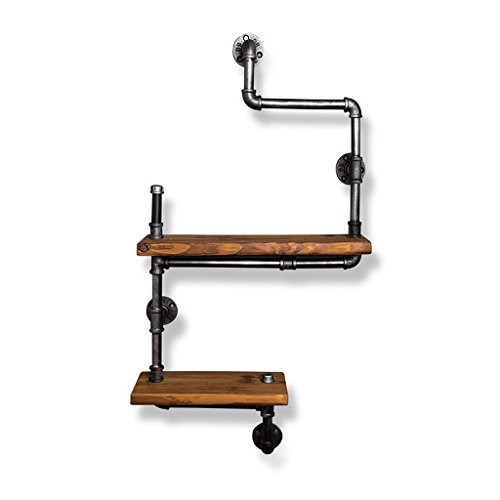 ZHEN GUO Industrieregal-Gestell-Wand Mouned, Temperguss-Eisen-Wasserrohr-Klammer u. Festes Holz-Regal, Retro- Wand-Dekor-Lagerung für Wohnzimmer-Schlafzimmer (Design : 2 Tier)