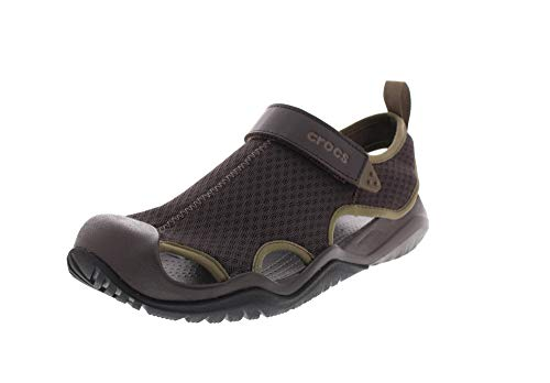 crocs Men's Swiftwater Mesh Deck Sandal Sport, Espresso, 7 M US