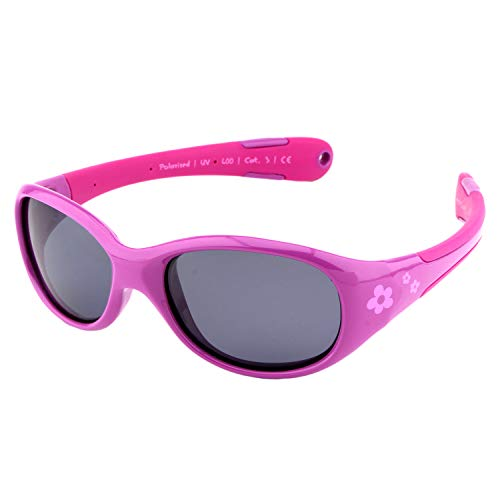 ActiveSol gafas de sol para BEBÉ | NIÑA | 100% protección UV 400 | polarizadas | irrompibles, de goma flexible | 0-24 meses | 18 gramos (Talla L, Flor)