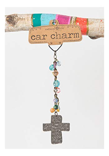 Natural Life Floral Motif Cross 'be blessed' Car Charm with Beads by Natural Life
