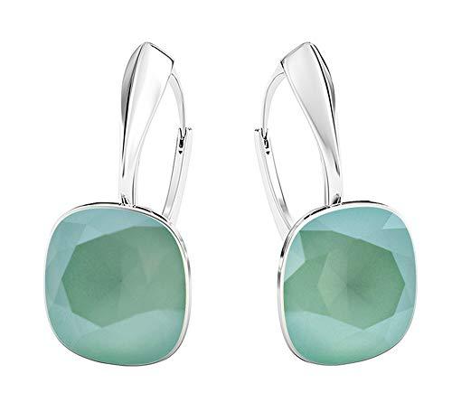 Crystals&Stones - Meravigliosi orecchini quadrati, grandi, diversi colori disponibili, in argento 925, con cristalli Swarovski Elements, da donna e Argento, colore: verde menta, cod. 7