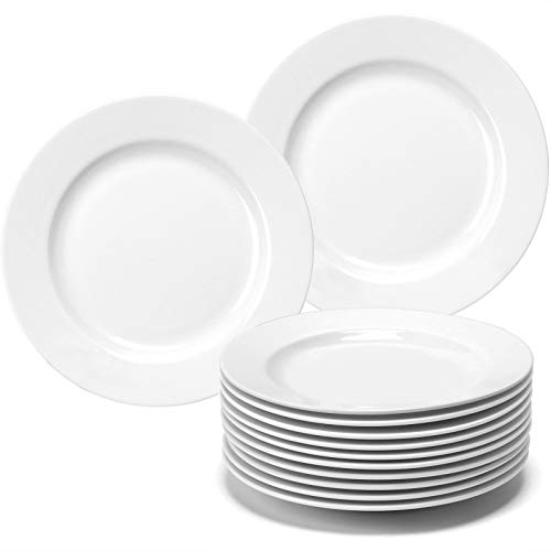 amHomel 12-Piece 6 inch Porcelain Dessert Plate Set, White appetizer plate for Kitchen and Family Party Use