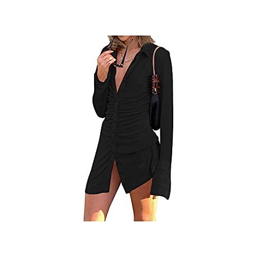 Kaenwang Vestido de mujer de manga larga con solapa fruncido con botones de color sólido flaco elegante plisado bodycon vestidos, Negro, L