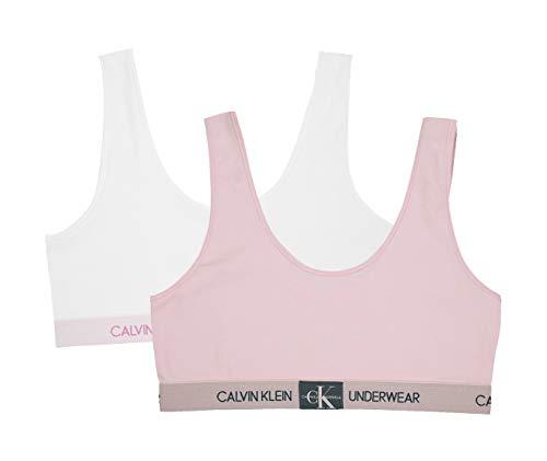 Calvin Klein Girl's Modern Cotton Bralette Underwear, Crystal Pink, Classic White, Medium, M,Little Girls