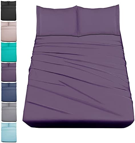 Mejoroom Bed Sheets Set,Extra Soft Luxury Queen Size Sheets with 15-inch Deep Pocket,Premium Bedding Collection – Breathable Wrinkle Fade Stain Resistant Hypoallergenic – 4 Piece (Queen, Purple)
