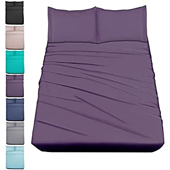 Mejoroom Bed Sheets Set,Extra Soft Luxury Queen Size Sheets with 15-inch Deep Pocket,Premium Bedding Collection - Breathable Wrinkle Fade Stain Resistant Hypoallergenic - 4 Piece  Queen Purple