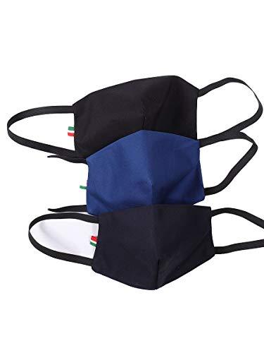 Mascherina Cotone 100% Lavabile Filtrante 3 Strati con Tasca Filtro in TNT ricambiabile. Misura per Uomo Confez. 3 Pezzi (Nero-Bluette-Blu)