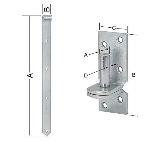 Kloben HAUS /& DACH Ladenband Set Ladenbandl/änge: 700 mm Durchmesser Kloben: 13 mm Eng blau verzinkt inkl
