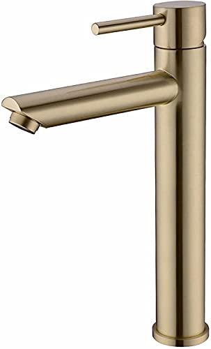 WYRKYP Tapón de Lavabo Brass Brass Basin Mezclador Toque Hot And Fried Water Basin Grifo Grifo con 2 Mangueras Instalación Simple Adecuado para Lavabo,Oro Cepillado