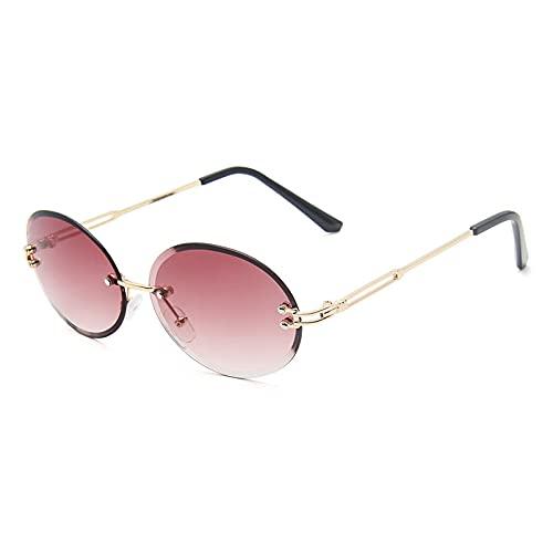TYOLOMZ Gafas de Sol sin Montura para Mujer de Moda Gafas de Sol ovaladas para Mujer Gafas de Sol UV400 para Mujer