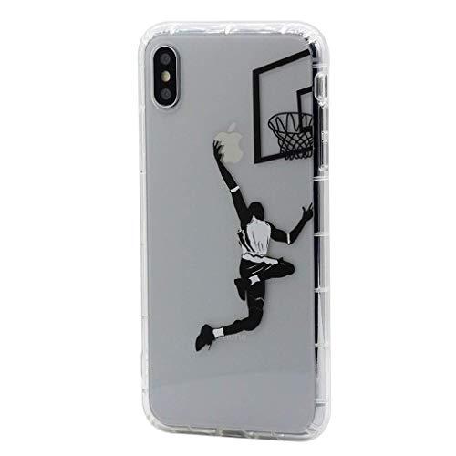 Keyihan Funda para Apple iPhone 11-6,1 Pulgadas Patrón Jugar Baloncesto Layup Anti-choques Carcasa Protectora Transparente Claro Suave TPU Silicona Shockproof Bumper Case para Chicos