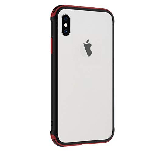 Rdyi6ba8 Funda Compatible con iPhone X 5.8 Pulgadas, Ligera Delgado Transparente PC Rigida Carcasa Silicona TPU Bumper Resistente Impactos Caso para iPhone XS, Rojo