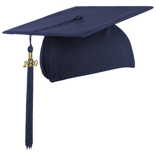 Lierys Doktorhut (Studentenhut) mit 2020 Jahreszahl Anhänger, Hut für Abschlussfeiern vom Studium an Universität, Hochschule oder Abitur, Absolventenhut in der Farbe royal blau, Einheitsgröße