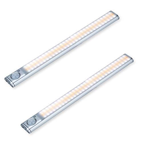 Unterschrank LED Leuchten Bewegungsmelder, Dimmbar 120 LEDs 3 Farben, 4 Modi, Eingebauter Akku Wiederaufladbare LED Schrankbeleuchtung für Küchenschrank Kleiderschrank Leuchten