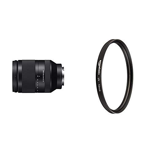 Sony SEL-24240 Weitwinkel-Zoom Objektiv (24-240 mm, F3.5-6.3, OSS, Vollformat, geeignet für A7, A6000, A5100, A5000 und Nex Serien, E-Mount) schwarz & AmazonBasics UV-Sperrfilter - 72mm