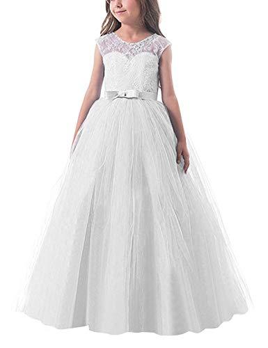 NNJXD Vestido de Fiesta de Tul de Encaje Falda de Princesa para Niñas Talla (130) 6-7 Años Blanco