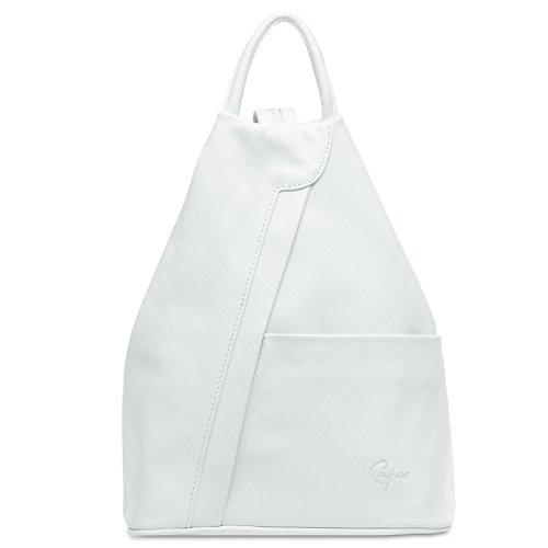 Caspar TL782 2 in 1 Leder Rucksack Handtasche, Farbe:weiss, Größe:One Size