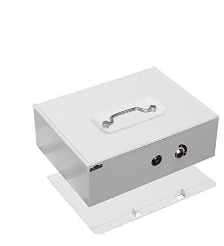 metalkas 12pwb-e cassetta in metallo con doppio fondo con 2Cilindro Castelli per la conservazione di denaro con inserto per monete in euro luce grigio, RAL 7035