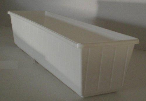 Jardinera para balcón de plástico, 100 cm, color blanco