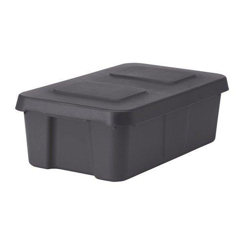 IKEA KLÄMTARE Box met deksel; donkergrijs; voor binnen en buiten; (27x45x15cm)