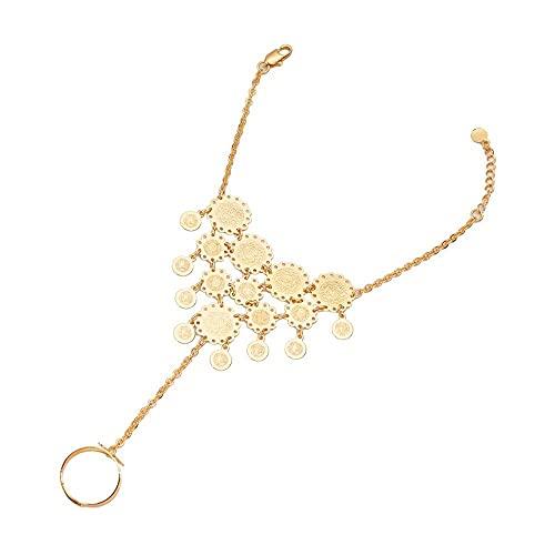 Pulsera de monedas de color dorado para mujeres Pulseras y cadenas árabes en reloj de pulsera Joyería de monedas antiguas Pulsera de moda india africana Boda