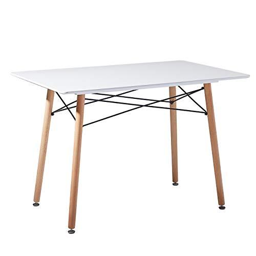EGGREE Table Salle à Manger Rectangulaire Scandinave Design Table de Cuisine,Pieds en Bois et Armature en Métal,110x70x73cm Blanche