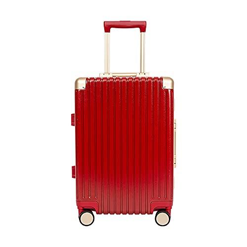SGCDKSP Maleta de Marco de Aluminio Maleta de código de embarque de Rueda Universal, Carro de Carro para Hombres y Mujeres,Rojo,22 Inches