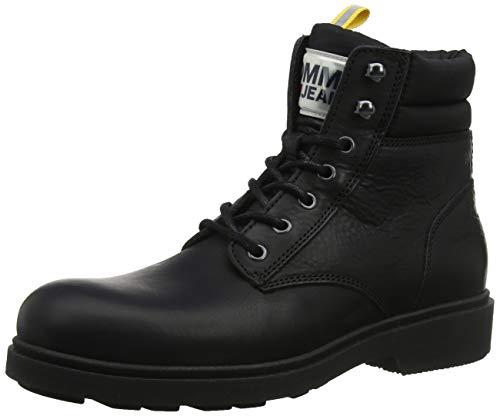 Tommy Hilfiger Herren Casual Leather Boot Klassische Stiefel, Schwarz (Black 990), 40 EU