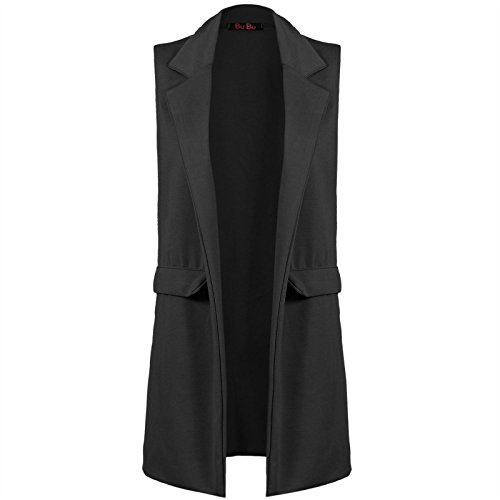 Gilet Long sans Manches pour Femme avec Poche en crêpe - Noir - Taille Unique