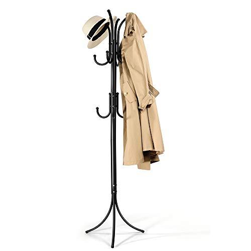 Cozzine Coat Rack Coat Tree Hat Hanger Holder 11 Hooks for Jacket Umbrella Tree Stand with Base Metal (Black)